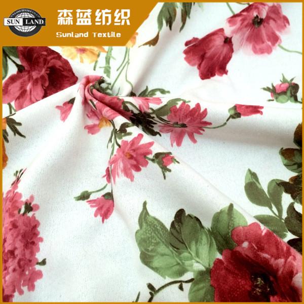 印花丝盖棉 Print polyester cover cotton jersey