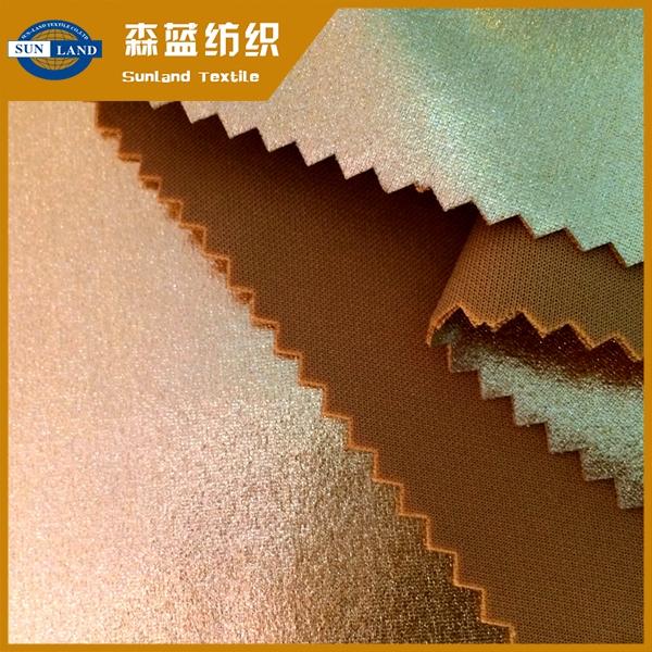 烫金涤氨空气层 Gold print spandex interlock