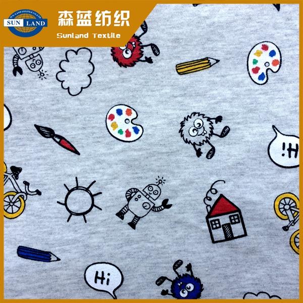 印花全棉汗布 Printed cotton jersey fabric